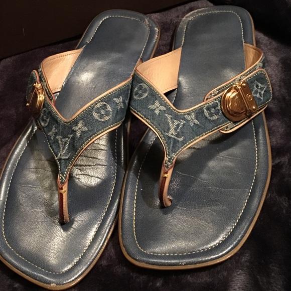 ba578d09d912 Louis Vuitton Shoes - 💯 Authentic LV denim monogram sandals size 40
